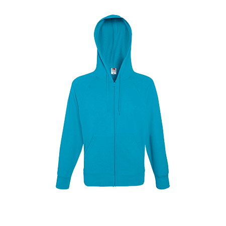 Lightweight Zip Hooded Sweatshirt in azure