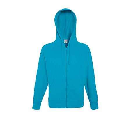 Lightweight Zip Hooded Sweatshirt in azure