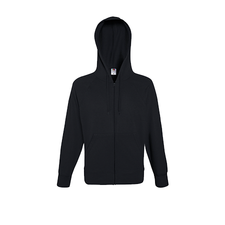 Lightweight Zip Hooded Sweatshirt in black