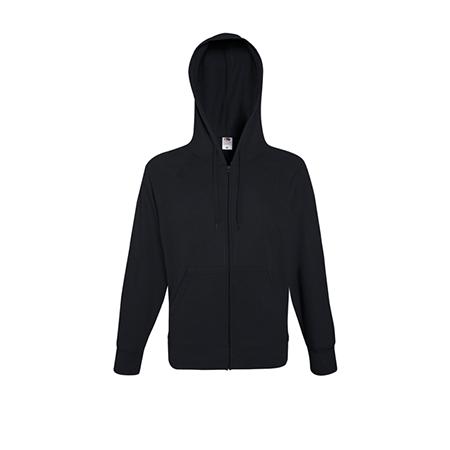 Lightweight Zip Hooded Sweatshirt in black
