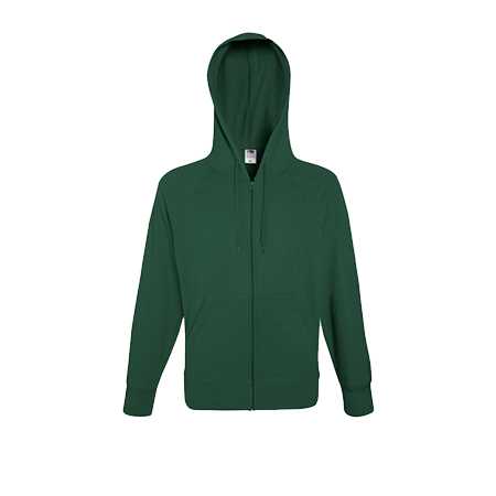Lightweight Zip Hooded Sweatshirt in bottle-green