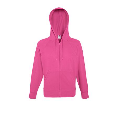 Lightweight Zip Hooded Sweatshirt in fuchsia