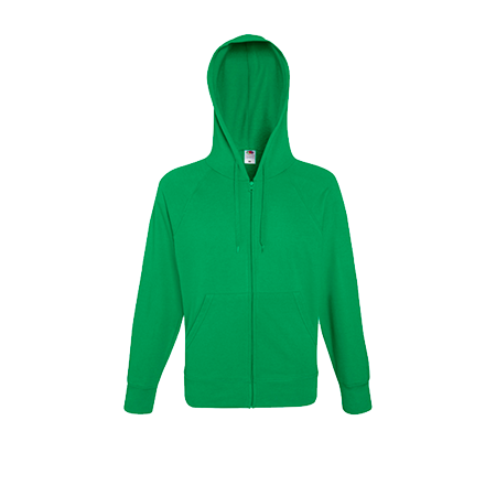 Lightweight Zip Hooded Sweatshirt in kelly-green
