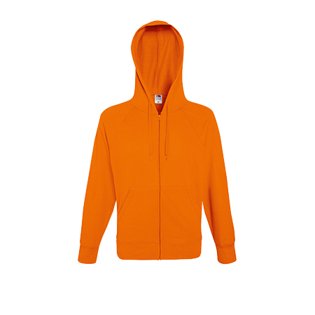 Lightweight Zip Hooded Sweatshirt in orange