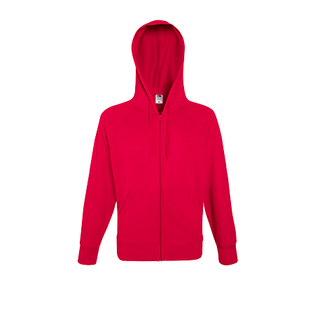 Lightweight Zip Hooded Sweatshirt in red