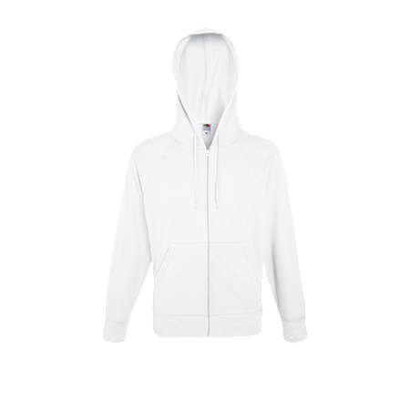 Lightweight Zip Hooded Sweatshirt in white