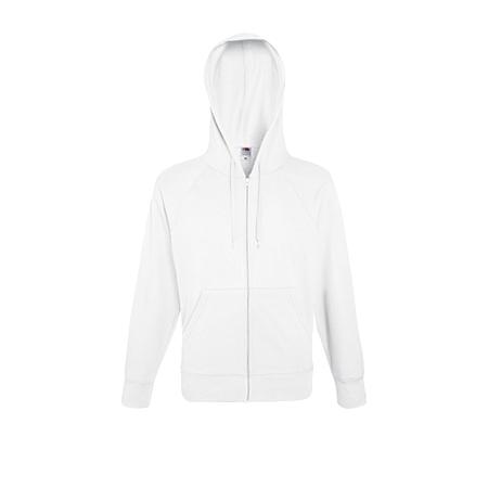 Lightweight Zip Hooded Sweatshirt in white