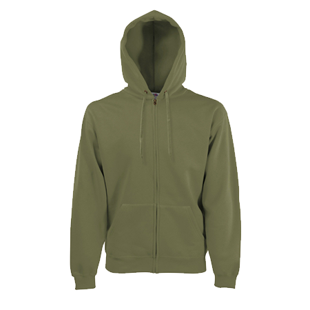 Zip Hooded Sweatshirt in classic-olive