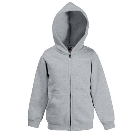 Kids Zip Hooded Sweatshirt in heather-grey