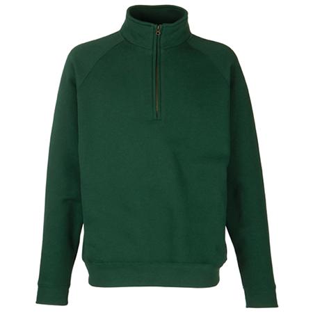 Zip Neck Sweatshirt in bottle-green