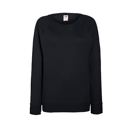 Lady Fit Lightweight Raglan Sweatshirt in black