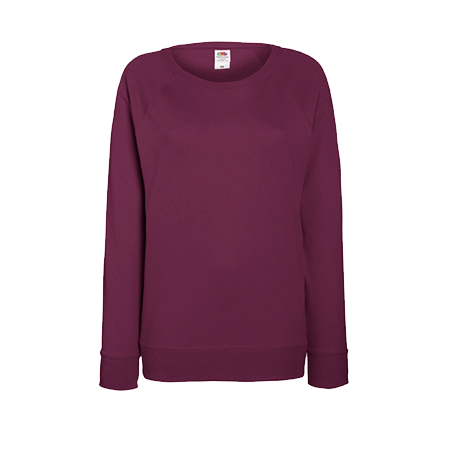 Lady Fit Lightweight Raglan Sweatshirt in burgundy