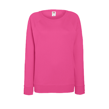 Lady Fit Lightweight Raglan Sweatshirt in fuchsia