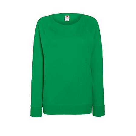 Lady Fit Lightweight Raglan Sweatshirt in kelly-green
