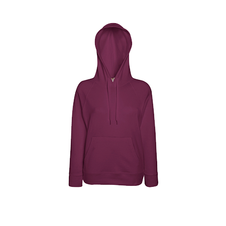 Lady Fit Lightweight Hooded Sweatshirt in burgundy