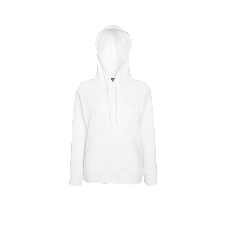 Lady Fit Lightweight Hooded Sweatshirt in white