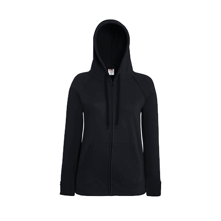 Lady Fit Lightweight Zip Hooded Sweatshirt in black