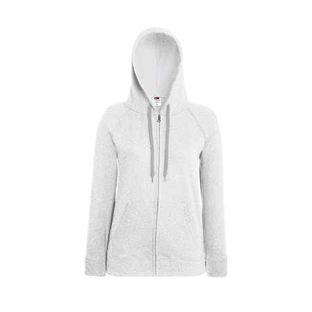 Lady Fit Lightweight Zip Hooded Sweatshirt in heather-grey