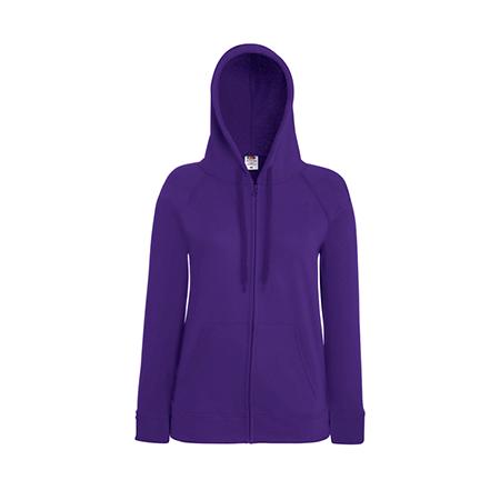 Lady Fit Lightweight Zip Hooded Sweatshirt in purple