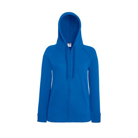 Lady Fit Lightweight Zip Hooded Sweatshirt in royal-blue