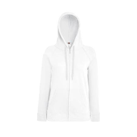 Lady Fit Lightweight Zip Hooded Sweatshirt in white