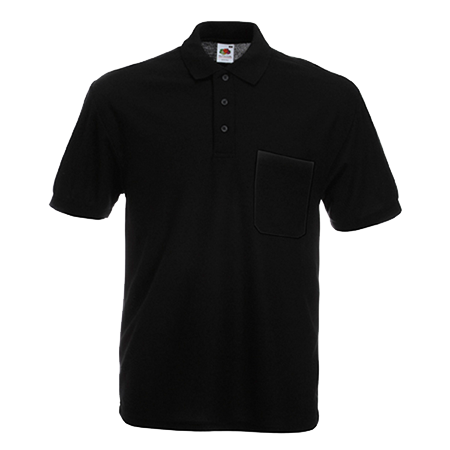 Pocket Pique Polo Shirt in black
