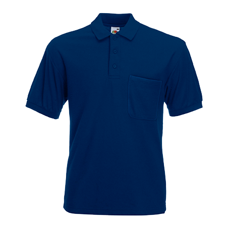 Pocket Pique Polo Shirt in navy