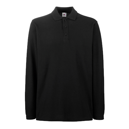 Premium Long Sleeve Pique Polo Shirt in black