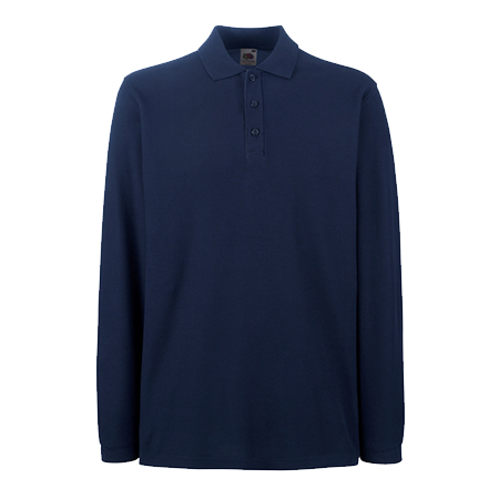 Premium Long Sleeve Pique Polo Shirt in deep-navy