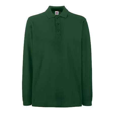 Premium Long Sleeve Pique Polo Shirt in forest-green