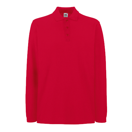 Premium Long Sleeve Pique Polo Shirt in red