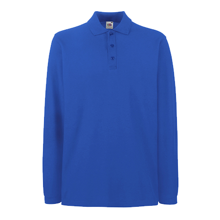 Premium Long Sleeve Pique Polo Shirt in royal-blue