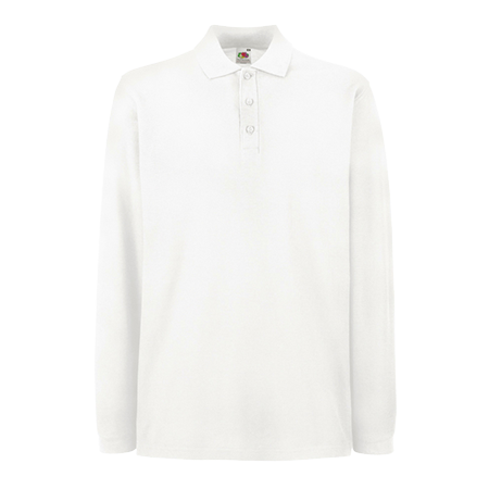 Premium Long Sleeve Pique Polo Shirt in white