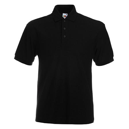 Poly Cotton Heavy Pique Polo Shirt in black