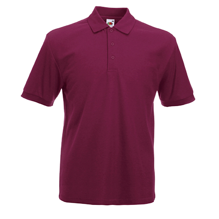 Poly Cotton Heavy Pique Polo Shirt in burgundy