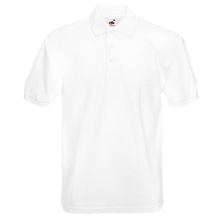 Poly Cotton Heavy Pique Polo Shirt in white