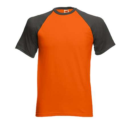 Contrast Baseball T-Shirt in orange-with-light-graphite