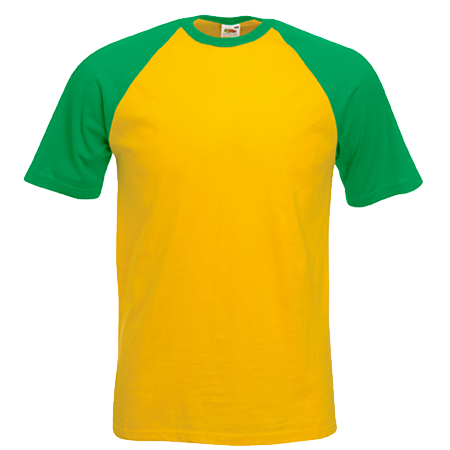 Contrast Baseball T-Shirt in sunflower-with-kelly-green