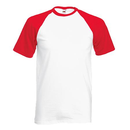 Contrast Baseball T-Shirt in white-with-red