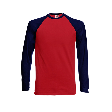 Contrast Long Sleeve Baseball T-Shirt in red-with-deep-navy