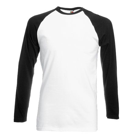 Contrast Long Sleeve Baseball T-Shirt in white-with-black