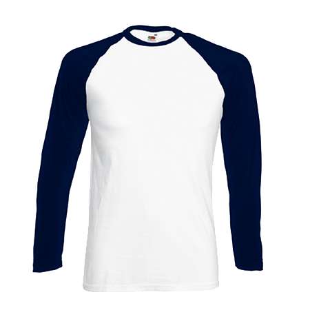 Contrast Long Sleeve Baseball T-Shirt in white-with-deep-navy