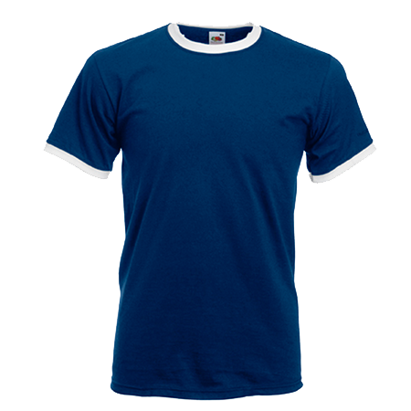 Contrast Ringer T-Shirt in navy-with-white