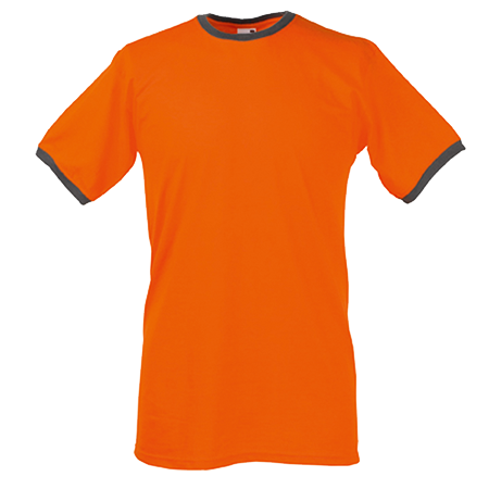 Contrast Ringer T-Shirt in orange-with-light-graphite