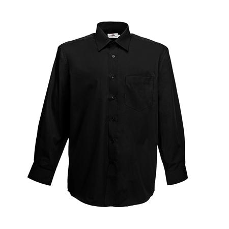 Long Sleeve Poplin Shirt in black