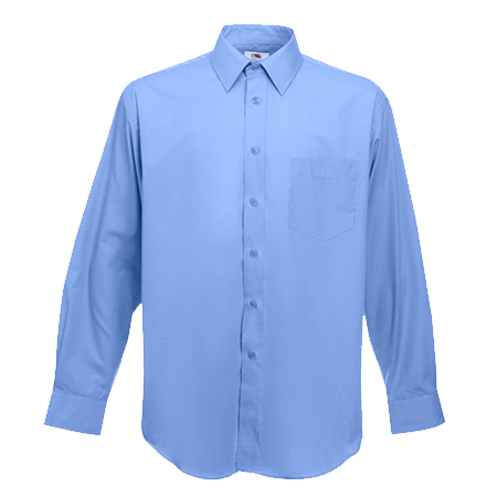 Long Sleeve Poplin Shirt in mid-blue