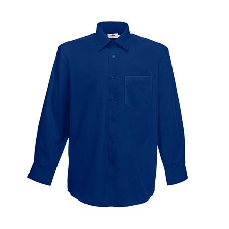 Long Sleeve Poplin Shirt in navy