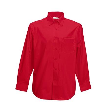 Long Sleeve Poplin Shirt in red
