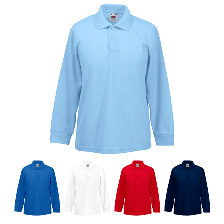 Kids Long Sleeve Pique Polo Shirt in white