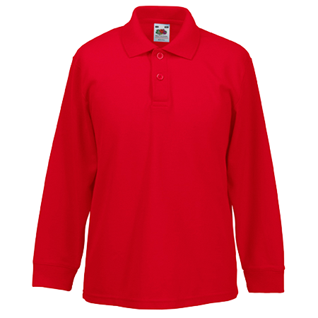 Kids Long Sleeve Pique Polo Shirt in red